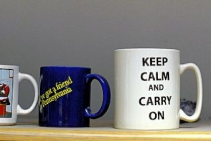 These are several mugs on the desk of Dr. Bruce Rabin.