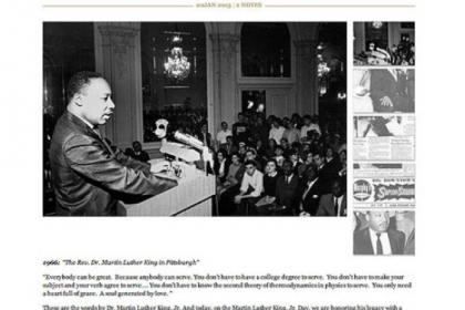 The Rev. Martin Luther King Jr. speaks at the University of Pittsburgh, circa 1966. The Digs features this photo today, the holiday marking the life and works of the late civil rights leader.