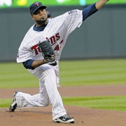 The Minnesota Twins' Francisco Liriano pitches against the Cleveland Indians in an April 2010  baseball game.