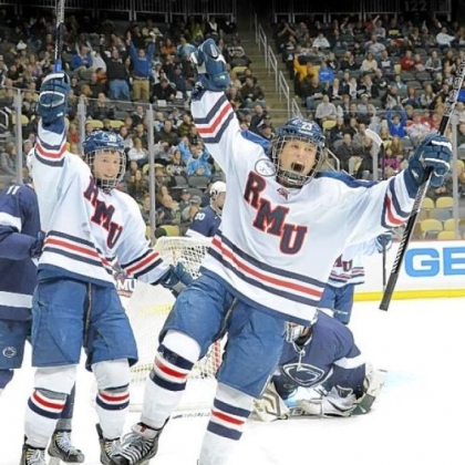 Robert Morris' Cody Wydo celebrates after scoring against Penn State in the Three Rivers Classic Dec. 28 at Consol Energy Center.
