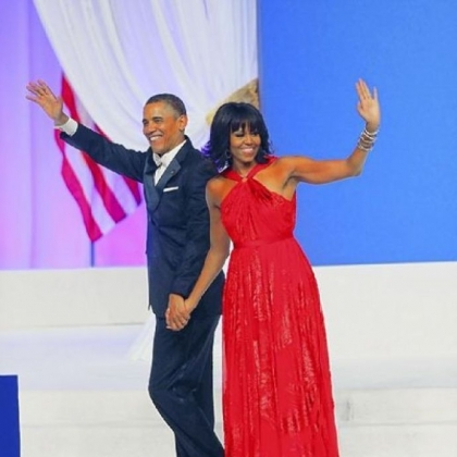 President Barack Obama and first lady Michelle Obama wave after dancing during the Commander-In-Chief's Inaugural Ball.