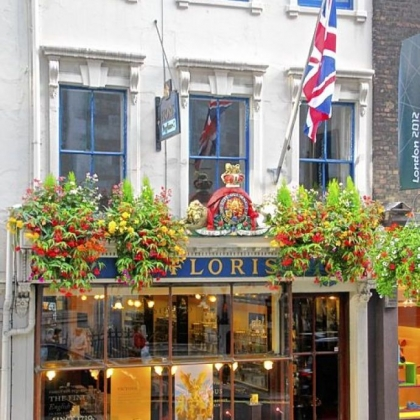 The Royal Warrant above Floris on Jermyn Street in London.