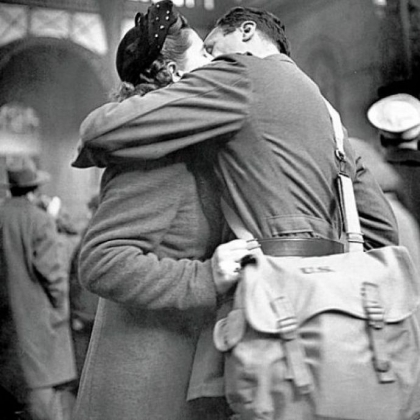 Alfred Eisenstaedt's 1944 photo shows a soldier kissing his girlfriend goodbye at New York's Pennsylvania Station before returning to duty after a brief furlough.