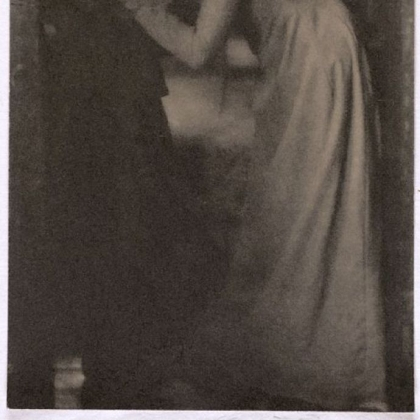 "Clarence H. White's 1904 portrait of sisters, ""The Kiss."""