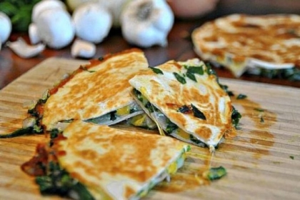 Mushroom Spinach Quesadillas