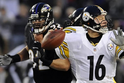 Steelers quarterback Charlie Batch drops back to pass against the Baltimore Ravens in a game in November.