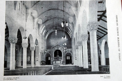 The interior of St. Agnes Roman Catholic Church, which was designed by John T. Comès and opened in 1917.