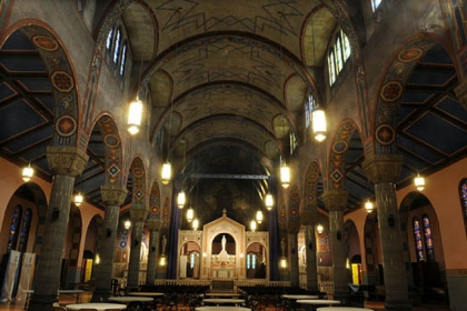 The interior of St. Agnes Roman Catholic Church, on the campus of Carlow University in Oakland, as seen Tuesday.
