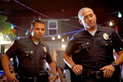 "Michael Pena and Jake Gyllenhaal are partners walking the beat in ""End of Watch."""