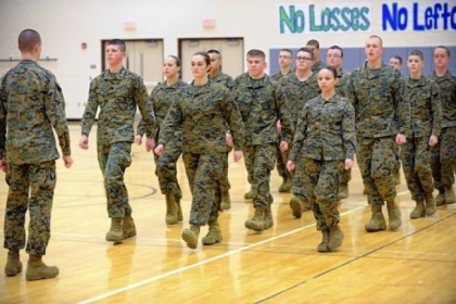 Members of Ambridge Area High School's ROTC and Leadership Academy drill at the high school.