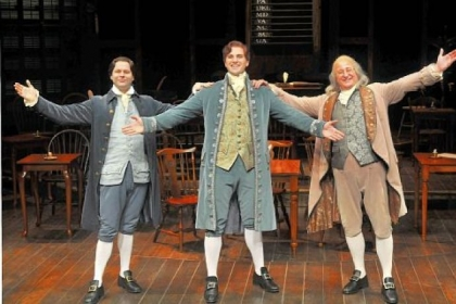 In Pittsburgh Public Theater&#039;s &quot;1776,&quot; George Merrick, left, portrays John Adams, Keith Hines is Thomas Jefferson and Steve Vinovich plays Benjamin Franklin.