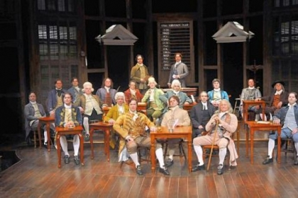 Members of Congress on stage, part of the 26-member cast of &quot;1776&quot; at Pittsburgh Public Theater