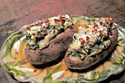 Greek-Stuffed Potatoes with Garlicky Spinach and Feta.