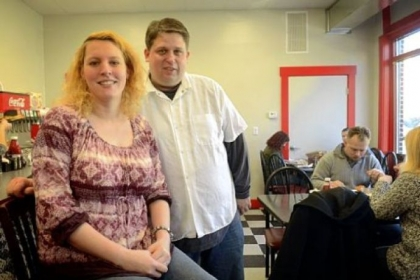 Rachel and Kevin Wisniewski in their new Chev & Rachel's Family Diner in Emsworth.