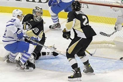 Penguins goaltender Marc-Andre Fleury watches a shot by Toronto's James van Riemsdyk get by for a goal in the second period Wednesday night at Consol Energy Center.