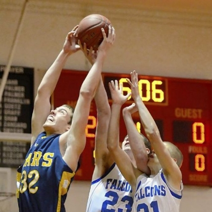 Mars center Josh Goetz pulls down a rebound against Connellsville at North Catholic's Don Graham Classic.