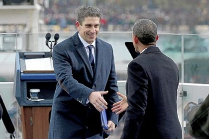 President Barack Obama greets poet Richard Blanco, left,  on Monday on the west front of the Capitol in Washington after Mr. Blanco&#039;s reading at the president&#039;s ceremonial swearing-in ceremony.