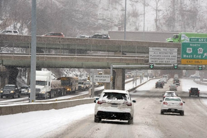 Snow-covered roads were the norm in and around Pittsburgh today.
