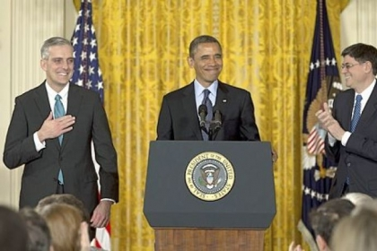 President Barack Obama, with current White House Chief of Staff Jack Lew, right, announces Friday that he will name current Deputy National Security Adviser Denis McDonough, left, as his next chief of staff.