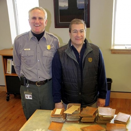 Gettysburg Superintendent Bob Kirby, left, with Craig Bashein, a lawyer and Civil War artifact collector from Cleveland, who donated artifacts for the Gettysburg museum.