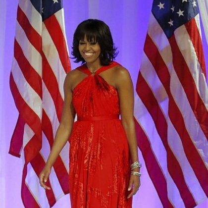 Michelle Obama's gown for the Commander-in-Chief's Ball was a chiffon-and-velvet halter dress by Jason Wu.