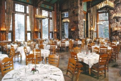 The dining room of The Ahwahnee in Yosemite National Park.