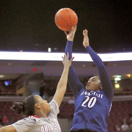 Penn State's Alex Bentley, right, shoots over the top of Ohio State's Ameryst Alston in the second half Sunday in Columbus, Ohio. Bentley finished with 16 points for the Nittany Lions, who defeated the Buckeyes, 71-56.