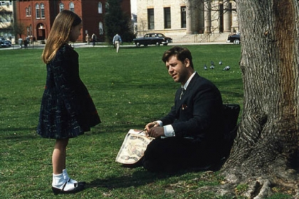 "Nobel Prize winner John Nash, played by Russell Crowe, talks to a hallucination of a girl in the movie ""A Beautiful Mind."" The real Mr. Nash says he hears voices, but does not see imaginary people. The hallucinations were the creation of the filmmaker, said Frederick Frese, a psychologist with schizophrenia who knows the Nash family."