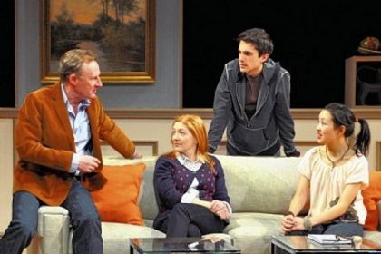 "In City Theatre's ""Seminar,"" the literary criticisms fly from Daniel Gerroll, left, to Rebecca Harris, Charles Socarides and Nadia Gan."