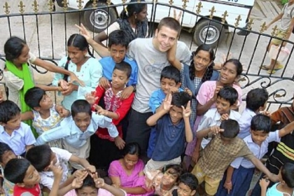 Rocky Braat with some of the children at the orphanage in India.