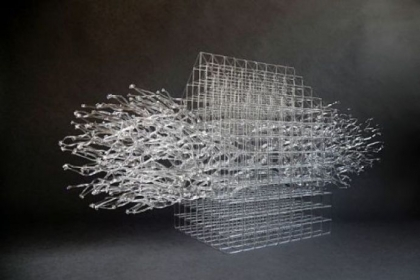 &quot;Housed Barrier IV&quot; a flameworked, borosilicate glass sculpture is among Ms. Choi&#039;s works on view at the Pittsburgh Glass Center.