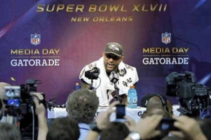 Baltimore Ravens linebacker Ray Lewis speaks on Tuesday during media day for the NFL Super Bowl XLVII.