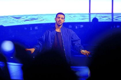 Drake performs Friday night at Consol Energy Center on a stage with a futuristic design.