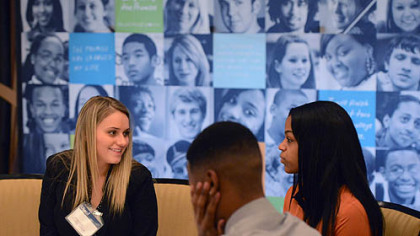 Melissa Walsh, left, 20, of Brookline conducts a mock interview with Phill Ross,  20, of Beltzhoover and Dana King, 20, of Pittsburgh, during today's Pittsburgh Promise Career Training Day.