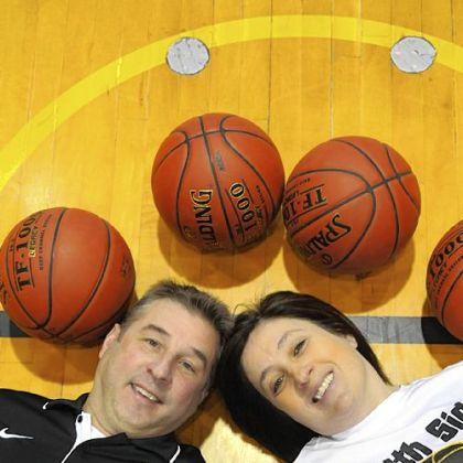 Husband-and-wife Dave and Debby Wilson are co-coaches of the South Side Beaver High School girls basketball team.