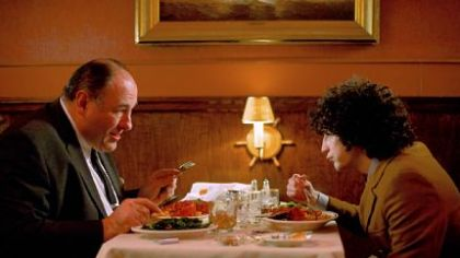 "James Gandolfini and John Magaro, as father and son, butt heads in ""Not Fade Away."""