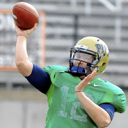 Pitt quarterback Tino Sunseri throws a pass during practice Thursday at Hoover High School in Hoover, Ala.  Pitt plays Mississippi Saturday in the BBVA Compass Bowl in Birmingham.
