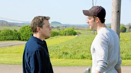 "Matt Damon stars as Steve Butker and John Krasinski stars as Dustin Noble in Gus Van Sant's ""Promised Land."""