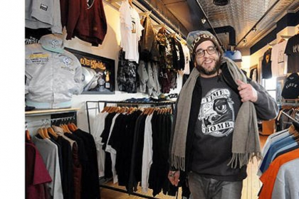 Brian Brick, owner of the Timebomb shop in Shadyside, was surprised to learn a backpack featuring a sticker apparently from his shop caused a bomb squad response when it was left outside an apartment building in Regent Square.