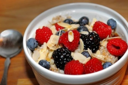 Oatmeal with berries and nuts served by Bluebird Kitchen on Forbes Avenue downtown.