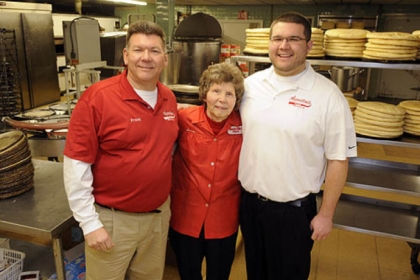 Frank R. Augustine, his mom, Sara Augustine, and son Frank J. of Augustine's pizza in New Castle.