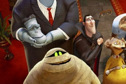 "Clockwise from left: Frank (voice of Kevin James), Dracula (Adam Sandler), Griffin The Invisible Man (David Spade), Wayne (Steve Buccemi), Wanda (Molly Shannon) and Murray the Mummy (Cee-Lo Green) in ""Hotel Transylvania."""