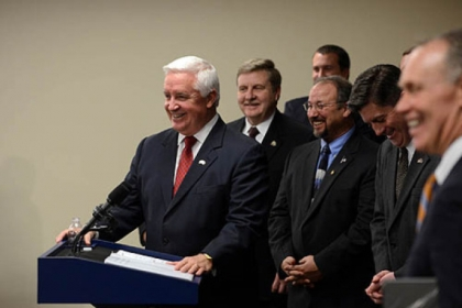 Gov. Tom Corbett speaks at a press conference Wednesday at Piatt Place in Pittsburgh where he announced his plans to privatize the sale of alcohol in Pennsylvania.