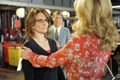 "Tina Fey, left, and Jane Krakowski do their last scenes as Liz Lemon and Jenna Maroney on tonight's ""30 Rock"" finale."