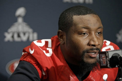 San Francisco 49ers inside linebacker NaVorro Bowman talks with reporters on Thursday in New Orleans.
