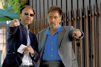 "Fisher Stevens, left, directs Al Pacino on the set of ""Stand Up Guys."""