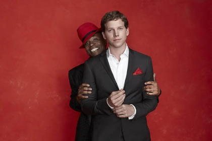 "Billy Porter peeks over the shoulder of his ""Kinky Boots"" co-star Stark Sands. The show, which opens in previews March 4, is part of the Post-Gazette's 97th Show Plane."