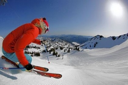 Heading down a slope at Squaw Valley, Calif., near Lake Tahoe.