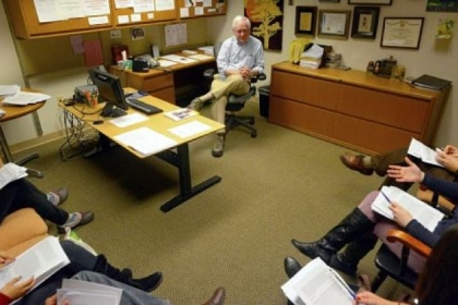 Bruce Rabin holds a class on the science of stress with five fourth-year University of Pittsburgh medical students inside his office at UPMC Presbyterian in Oakland recently.
