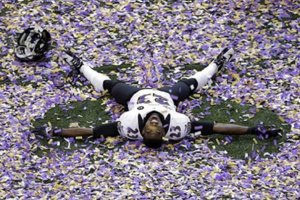 Ravens defensive back Chykie Brown celebrates after Super Bowl XLVII against the 49ers in New Orleans. The Ravens won 34-31.
